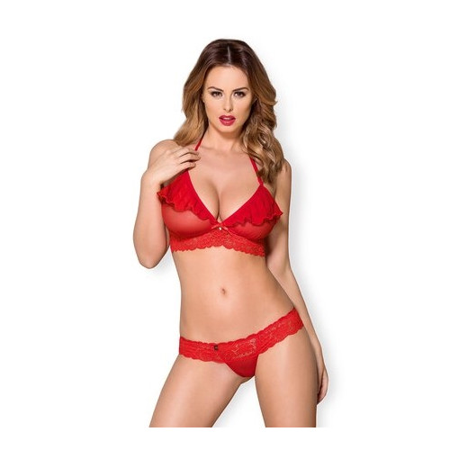 Obsessive 863-SET-3 - Ruffled Bra with Thong (Red)